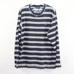 90s Tommy Hilfiger Mens Large Striped Henley Shirt